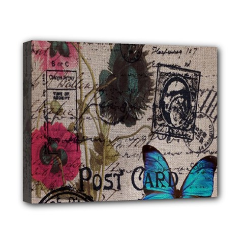 Floral Scripts Blue Butterfly Eiffel Tower Vintage Paris Fashion Canvas 10  x 8  (Framed)