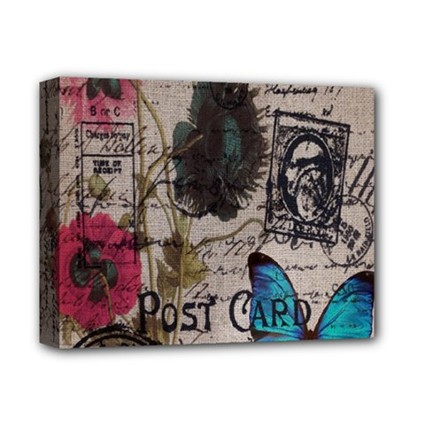 Floral Scripts Blue Butterfly Eiffel Tower Vintage Paris Fashion Deluxe Canvas 14  x 11  (Framed)