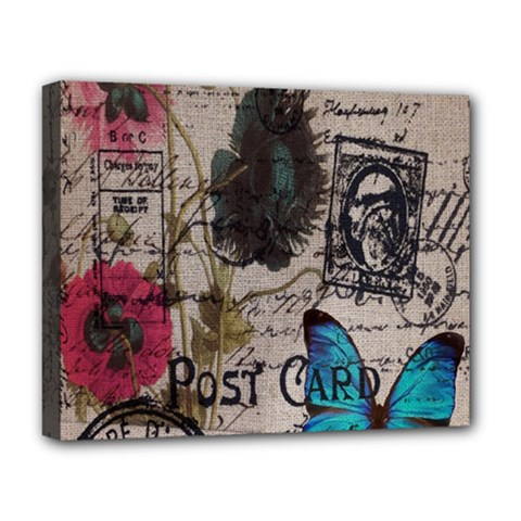 Floral Scripts Blue Butterfly Eiffel Tower Vintage Paris Fashion Deluxe Canvas 20  X 16  (framed)