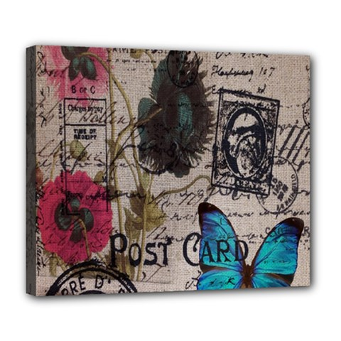 Floral Scripts Blue Butterfly Eiffel Tower Vintage Paris Fashion Deluxe Canvas 24  x 20  (Framed)