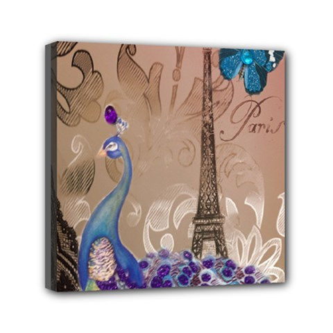 Modern Butterfly  Floral Paris Eiffel Tower Decor Mini Canvas 6  X 6  (framed)