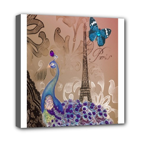 Modern Butterfly  Floral Paris Eiffel Tower Decor Mini Canvas 8  x 8  (Framed)