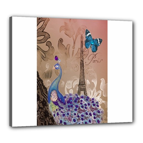 Modern Butterfly  Floral Paris Eiffel Tower Decor Canvas 24  X 20  (framed)