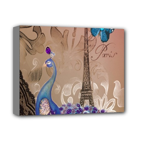 Modern Butterfly  Floral Paris Eiffel Tower Decor Deluxe Canvas 14  X 11  (framed)
