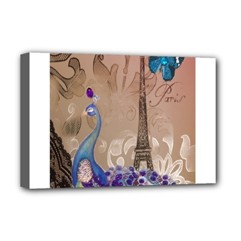 Modern Butterfly  Floral Paris Eiffel Tower Decor Deluxe Canvas 18  x 12  (Framed)