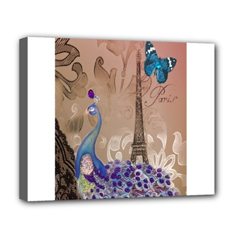Modern Butterfly  Floral Paris Eiffel Tower Decor Deluxe Canvas 20  x 16  (Framed)