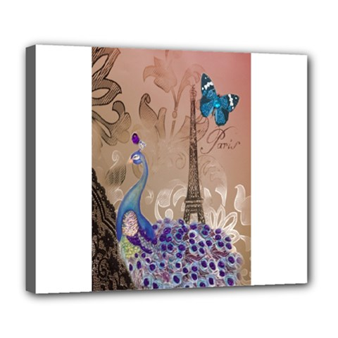 Modern Butterfly  Floral Paris Eiffel Tower Decor Deluxe Canvas 24  X 20  (framed)