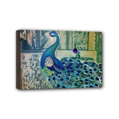 French Scripts Vintage Peacock Floral Paris Decor Mini Canvas 6  x 4  (Framed)