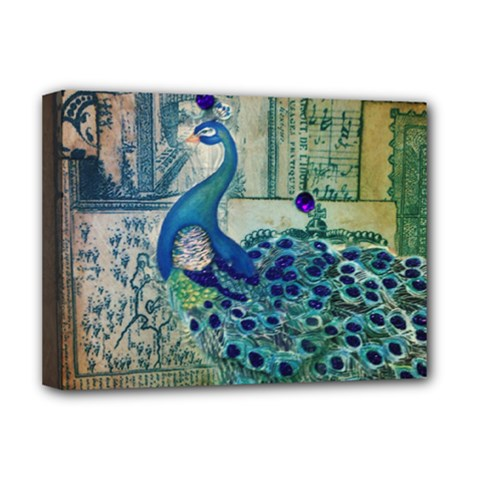 French Scripts Vintage Peacock Floral Paris Decor Deluxe Canvas 16  X 12  (framed)