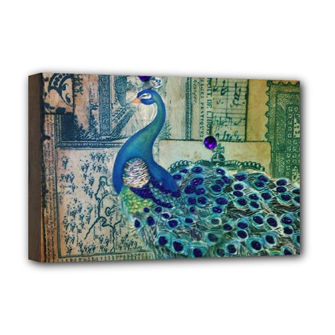 French Scripts Vintage Peacock Floral Paris Decor Deluxe Canvas 18  X 12  (framed)
