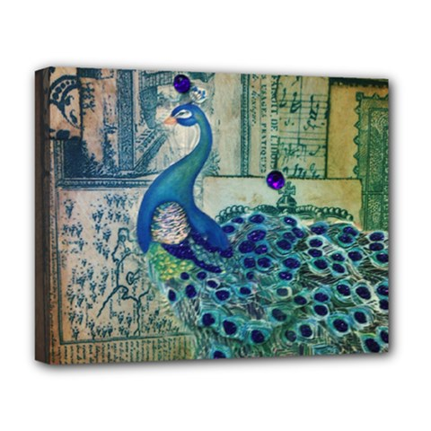 French Scripts Vintage Peacock Floral Paris Decor Deluxe Canvas 20  X 16  (framed)