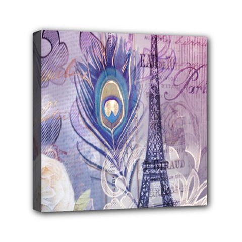 Peacock Feather White Rose Paris Eiffel Tower Mini Canvas 6  X 6  (framed)