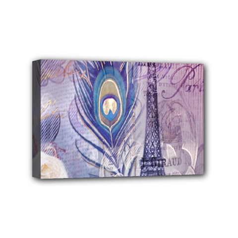 Peacock Feather White Rose Paris Eiffel Tower Mini Canvas 6  x 4  (Framed)