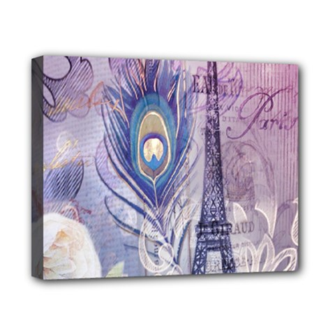 Peacock Feather White Rose Paris Eiffel Tower Canvas 10  x 8  (Framed)