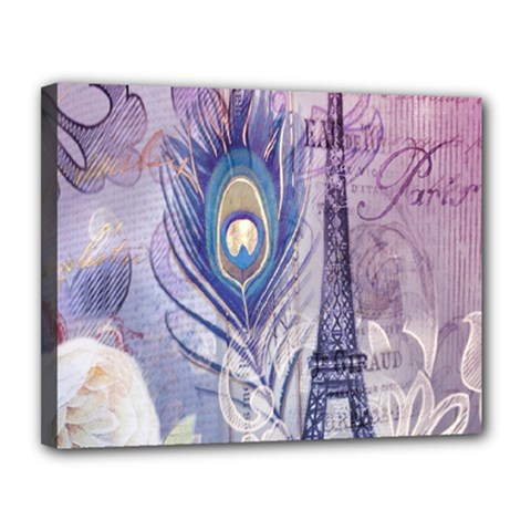 Peacock Feather White Rose Paris Eiffel Tower Canvas 14  X 11  (framed)