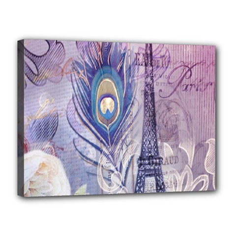 Peacock Feather White Rose Paris Eiffel Tower Canvas 16  x 12  (Framed)