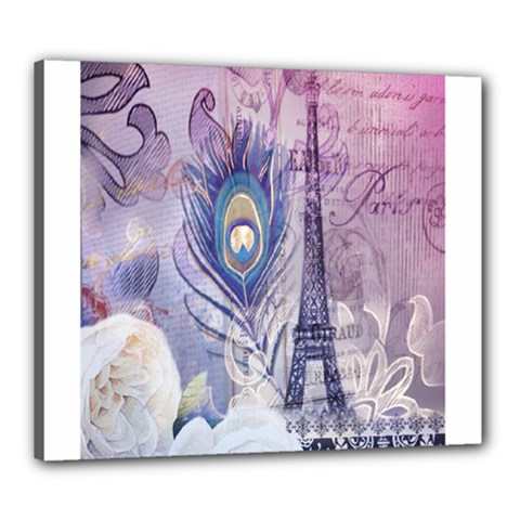 Peacock Feather White Rose Paris Eiffel Tower Canvas 24  X 20  (framed)