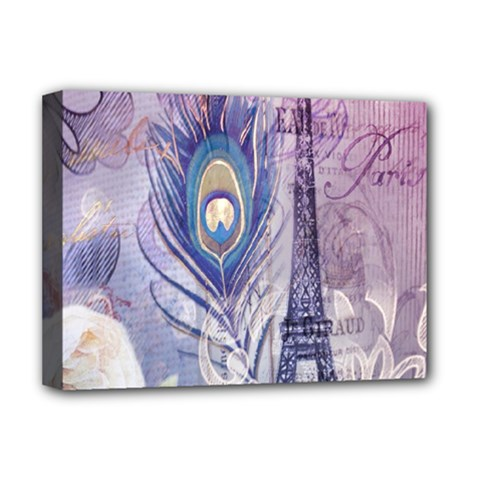 Peacock Feather White Rose Paris Eiffel Tower Deluxe Canvas 16  x 12  (Framed)