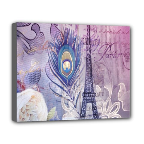 Peacock Feather White Rose Paris Eiffel Tower Deluxe Canvas 20  x 16  (Framed)