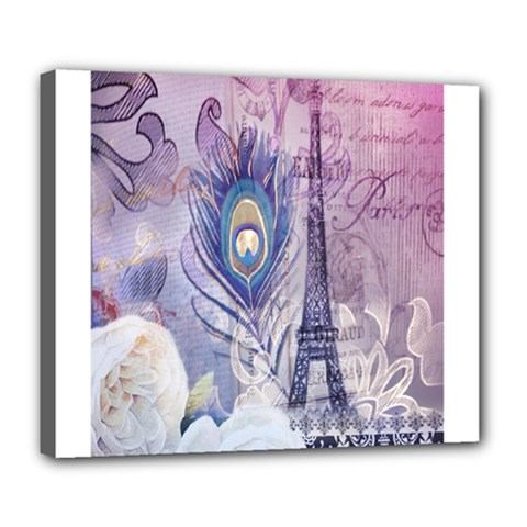 Peacock Feather White Rose Paris Eiffel Tower Deluxe Canvas 24  x 20  (Framed)
