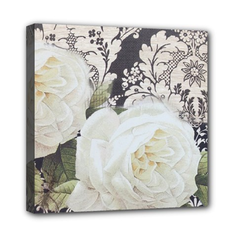 Elegant White Rose Vintage Damask Mini Canvas 8  x 8  (Framed)