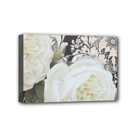Elegant White Rose Vintage Damask Mini Canvas 6  x 4  (Framed)