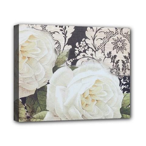 Elegant White Rose Vintage Damask Canvas 10  X 8  (framed)