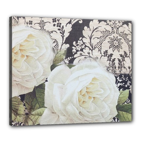 Elegant White Rose Vintage Damask Canvas 24  x 20  (Framed)