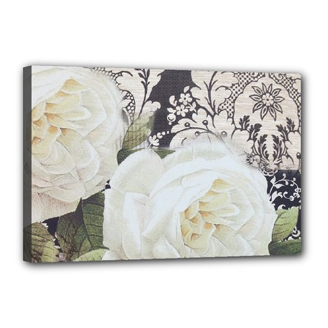 Elegant White Rose Vintage Damask Canvas 18  x 12  (Framed)