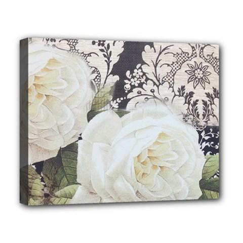 Elegant White Rose Vintage Damask Deluxe Canvas 20  x 16  (Framed)