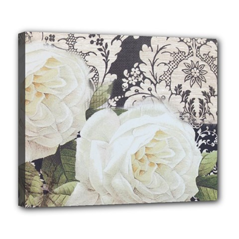 Elegant White Rose Vintage Damask Deluxe Canvas 24  x 20  (Framed)