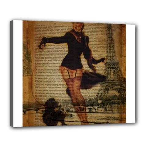 Paris Lady And French Poodle Vintage Newspaper Print Sexy Hot Gil Elvgren Pin Up Girl Paris Eiffel T Canvas 20  x 16  (Framed)