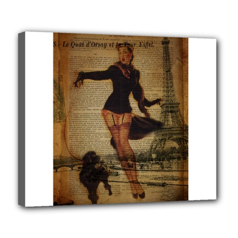 Paris Lady And French Poodle Vintage Newspaper Print Sexy Hot Gil Elvgren Pin Up Girl Paris Eiffel T Deluxe Canvas 24  x 20  (Framed)