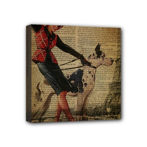 Paris Girl And Great Dane Vintage Newspaper Print Sexy Hot Gil Elvgren Pin Up Girl Paris Eiffel Towe Mini Canvas 4  x 4  (Framed)