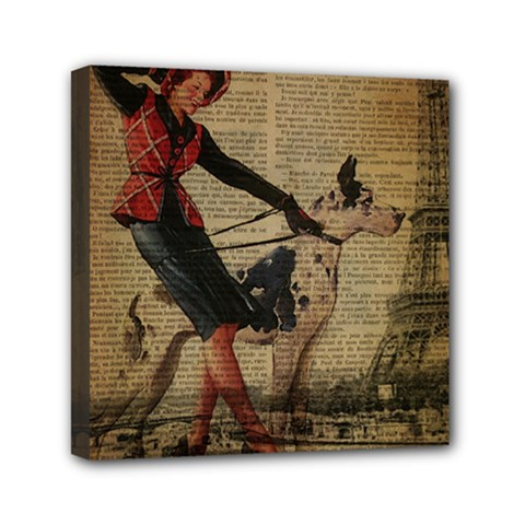 Paris Girl And Great Dane Vintage Newspaper Print Sexy Hot Gil Elvgren Pin Up Girl Paris Eiffel Towe Mini Canvas 6  X 6  (framed)