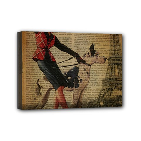 Paris Girl And Great Dane Vintage Newspaper Print Sexy Hot Gil Elvgren Pin Up Girl Paris Eiffel Towe Mini Canvas 7  X 5  (framed)