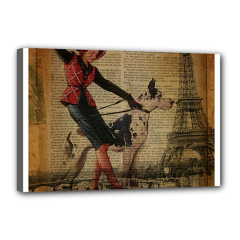 Paris Girl And Great Dane Vintage Newspaper Print Sexy Hot Gil Elvgren Pin Up Girl Paris Eiffel Towe Canvas 18  x 12  (Framed)