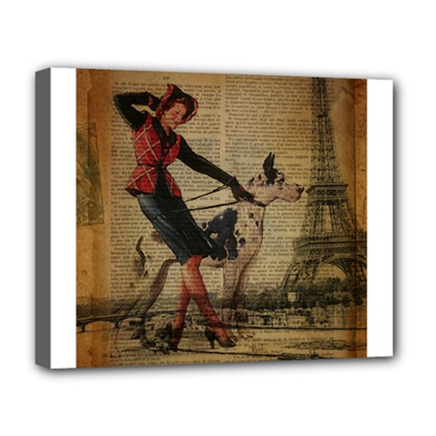 Paris Girl And Great Dane Vintage Newspaper Print Sexy Hot Gil Elvgren Pin Up Girl Paris Eiffel Towe Deluxe Canvas 20  X 16  (framed)