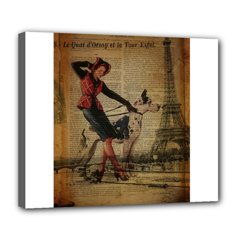 Paris Girl And Great Dane Vintage Newspaper Print Sexy Hot Gil Elvgren Pin Up Girl Paris Eiffel Towe Deluxe Canvas 24  X 20  (framed)