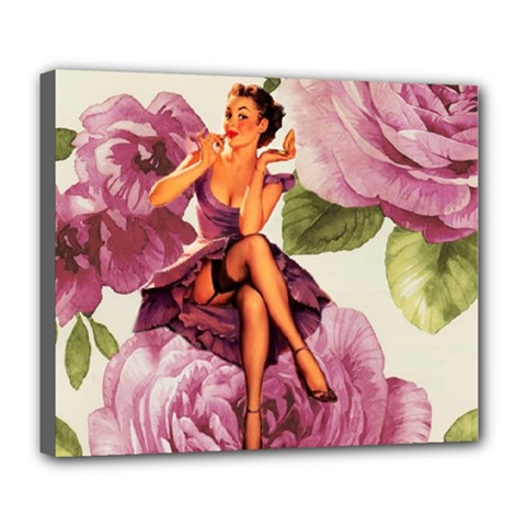 Cute Purple Dress Pin Up Girl Pink Rose Floral Art Deluxe Canvas 24  x 20  (Framed)