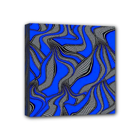 Foolish Movements Blue Mini Canvas 4  x 4  (Framed)