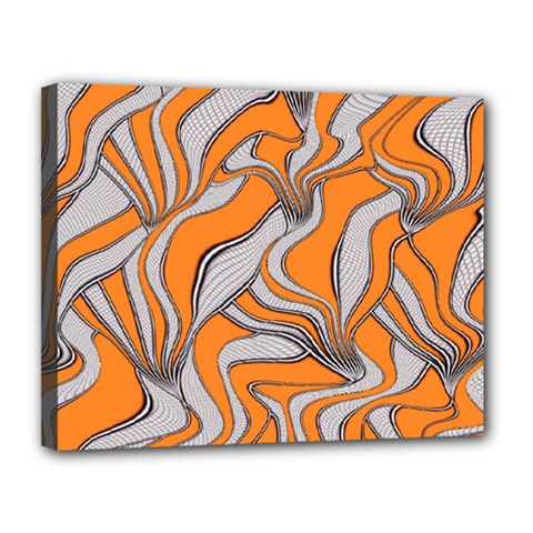 Foolish Movements Swirl Orange Canvas 14  X 11  (framed)