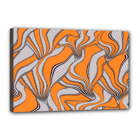 Foolish Movements Swirl Orange Canvas 18  X 12  (framed)
