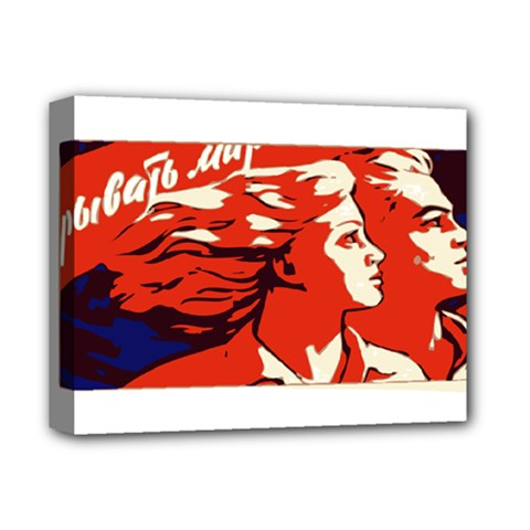 Communist Propaganda He And She  Deluxe Canvas 14  X 11  (framed)