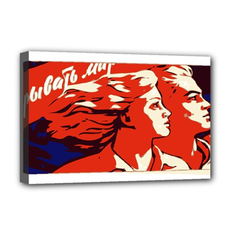 Communist Propaganda He And She  Deluxe Canvas 18  x 12  (Framed)