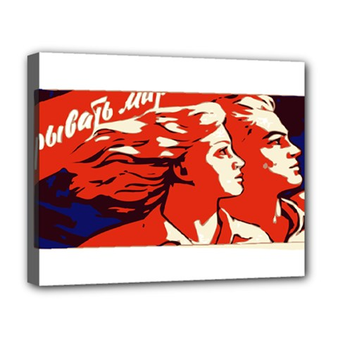 Communist Propaganda He And She  Deluxe Canvas 20  x 16  (Framed)