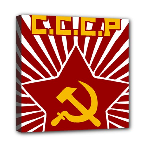 hammer and sickle cccp Mini Canvas 8  x 8  (Stretched)