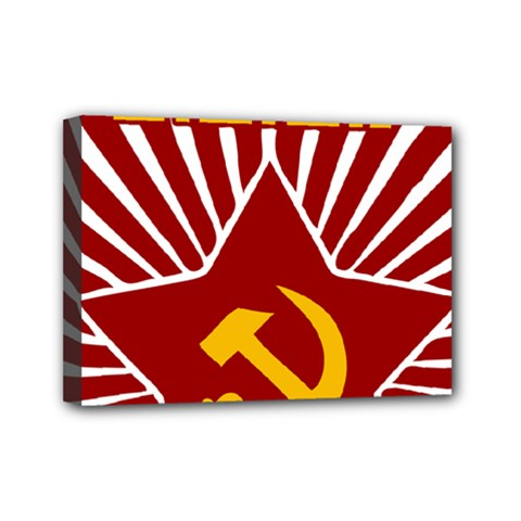 Hammer And Sickle Cccp Mini Canvas 7  X 5  (stretched)