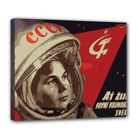 Soviet Union In Space Deluxe Canvas 24  x 20  (Framed)