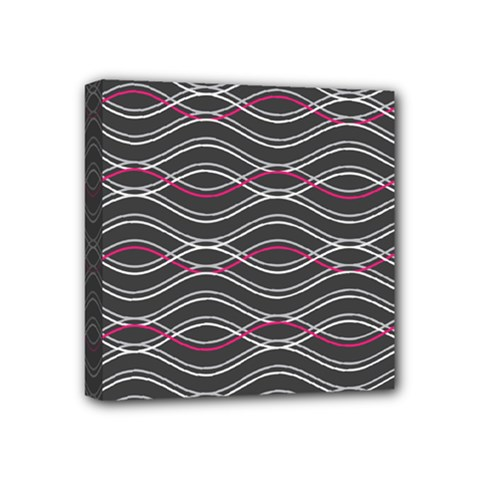 Black And Pink Waves Pattern Mini Canvas 4  x 4  (Framed)